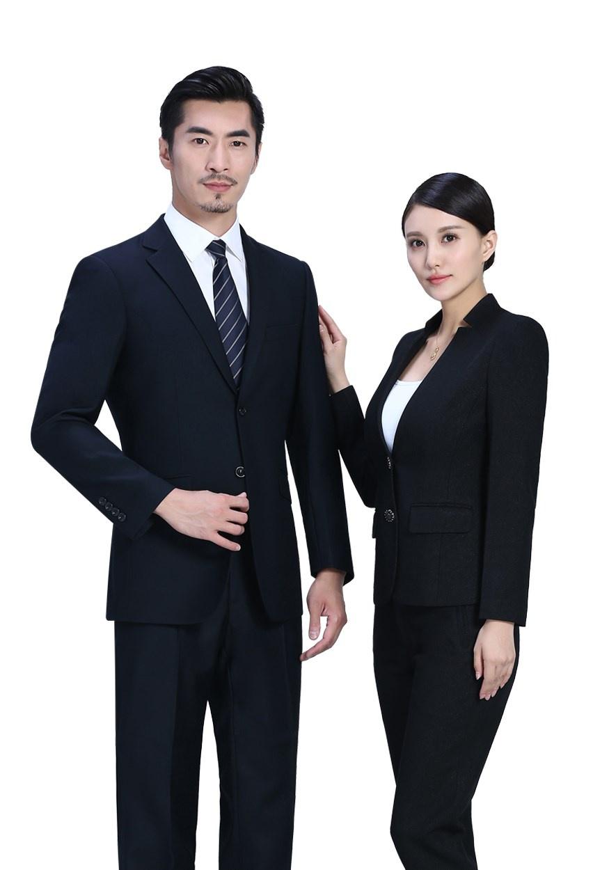 二粒扣黑色职业装