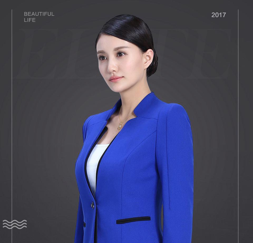 艳蓝色职业套装女职业装