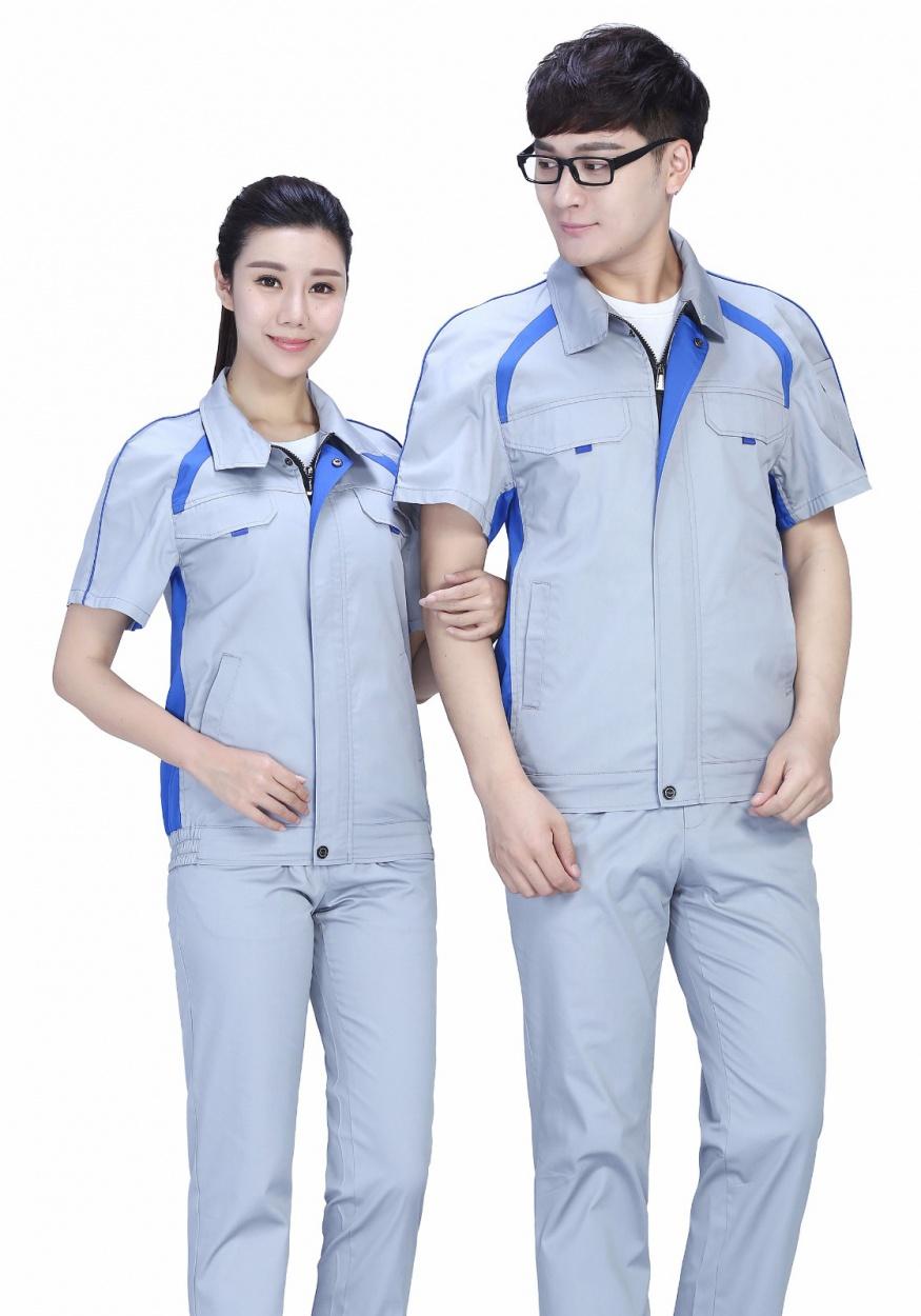 时尚配色夏季涤棉细纹短袖工作服FY635